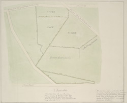 [Plan of the land from Piccadilly to the Mulberry Garden and Goring Great Garden sold by Sir Thomas Grosvenor to the Earl of Arlington]